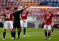 Photo: Daniel Hambury.<br />Manchester United v FC Porto. Amsterdam Tournament. <br />04/08/2006.<br />Manchester's Wayne Rooney is sent off by referee Ruud Besson.