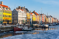Nyhavn harbour in winter in Copenhagen, Denmark