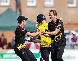 Somerset's Josh Davey celebrates taking the wicket of Gloucestershire's Miles Hammond<br /> <br /> Photographer Simon King/Replay Images<br /> <br /> Vitality Blast T20 - Round 1 - Somerset v Gloucestershire - Friday 6th July 2018 - Cooper Associates County Ground - Taunton<br /> <br /> World Copyright © Replay Images . All rights reserved. info@replayimages.co.uk - http://replayimages.co.uk
