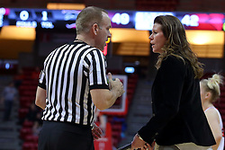 29 January 2017: Brad Maxey speaks with Lisa Hayden during an College Missouri Valley Conference Women's Basketball game between Illinois State University Redbirds the Salukis of Southern Illinois at Redbird Arena in Normal Illinois.