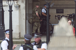 May 24, 2017 - London, London, UK - London, UK. British army soldiers with armed police patrol the Palace of Westminister in response to an imminent terrorist attack following the Manchester Arena bombing. (Credit Image: © Ray Tang/London News Pictures via ZUMA Wire)