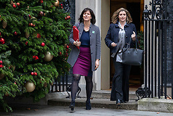 © Licensed to London News Pictures. 18/12/2018. London, UK. Minister of State at Department for Business, Energy and Industrial Strategy Claire Perry (L) and Secretary of State for International Development Penny Mordaunt (R) leave 10 Downing Street after the Cabinet meeting. Tomorrow will mark 100 days to go before the 29 March 2019 deadline for leaving the European Union. Photo credit: Rob Pinney/LNP