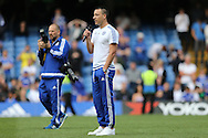 John Terry, the Chelsea captain giving a speech to fans during a walk around the pitch after full time. Barclays Premier league match, Chelsea v Leicester city at Stamford Bridge in London on Sunday 15th May 2016.<br /> pic by John Patrick Fletcher, Andrew Orchard sports photography.