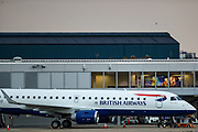 A British Airways aeroplane is parked up in London City Airport on Friday, April 30, 2021. The end of the air traffic control tower is in sight after London City became the first big airport in the world to switch to a digital system. (Photo/ Vudi Xhymshiti)