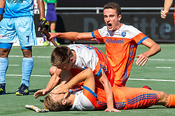 (L-R) Jeroen Hertzberger of The Netherlands, Thierry Brinkman of The Netherlands, Jonas de Geus of The Netherlands during the Champions Trophy match between the Netherlands and India on the fields of BH&BC Breda on June 30, 2018 in Breda, the Netherlands