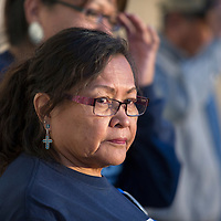 Maggie Charley, mother of Officer Houston Largo, attends the anniversary vigil for Officer Largo held at Gallup Police Department in Gallup Monday.