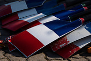 Poznan, POLAND, 22nd June 2019, Saturday, Morning,  Blades/Oars, Glistening with condensation in the early morning, Views Boat Park,  FISA World Rowing Cup II, Malta Lake Course, © Peter SPURRIER/Intersport Images,<br /> 08:05:51