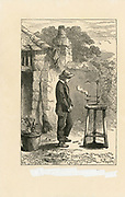 'Humphry Davy (1778-1829) British chemist, shown as a boy in Cornwall experimenting on the diffusion of heat. Engraving, 1878. Popularly remebered for his invention of the miner's safety lamp.'