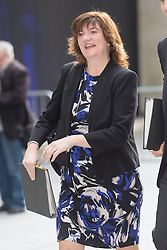 © Licensed to London News Pictures. 25/10/2015. London, UK. Education Secretary NICKY MORGAN arrives at BBC Broadcasting House in London to appear on the Andrew Marr Show. Photo credit : Vickie Flores/LNP