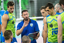 Alberto Giuliani head coach of Slovenia with players during time out during friendly volleyball match between Slovenia and Serbia in Arena Stozice on 2nd of September, 2019, Ljubljana, Slovenia. Photo by Grega Valancic / Sportida