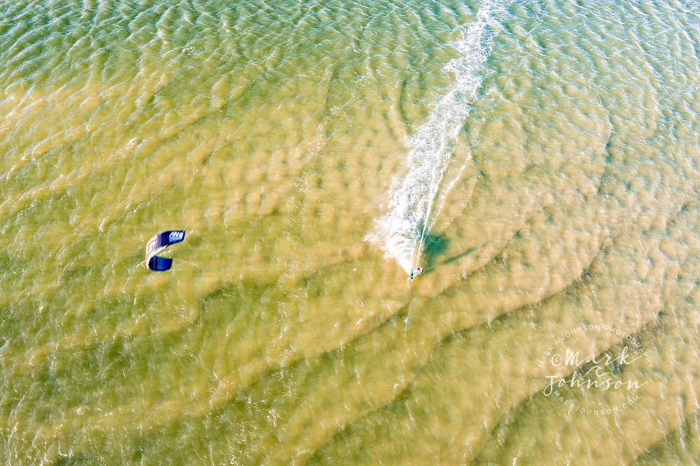Queensland, Australia-22 May 2021: Aerial view of kitesurfing in Pumicestone Passage, Golden Beach, Caloundra,  Sunshine Coast