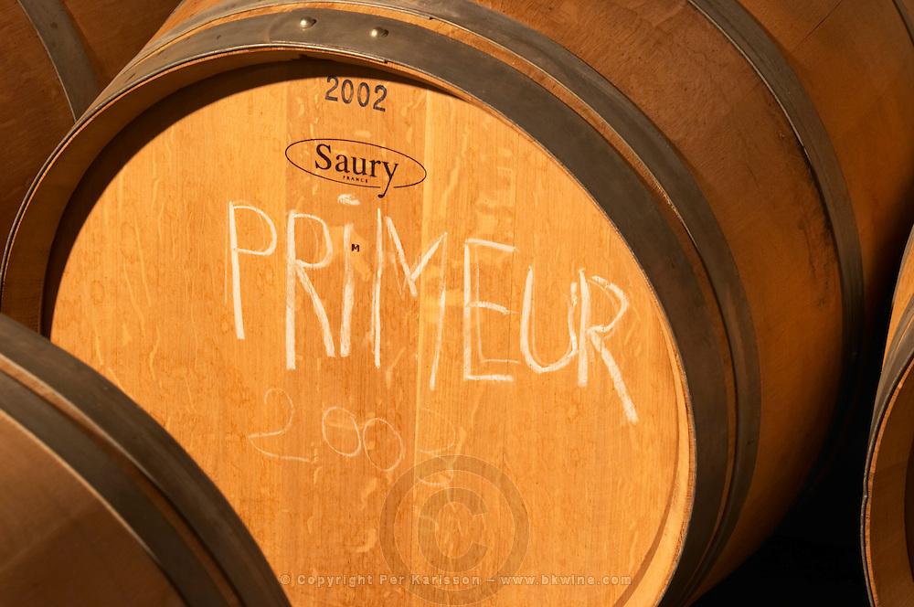 An oak barrel marked 'primeur' for the young wine to be presented to the trade - Château Pey la Tour, previously Clos de la Tour or de Latour, Bordeaux, France
