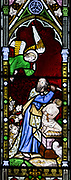 Victorian stained glass window depicting Abraham and Isaac circa 1852 by William Wailes (1808-1881), Urchfont church, Wiltshire, England