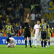 Referee's Aytekin DURMAZ show the red card to Fenerbahce's Alexsandro de SOUZA (R) during their Turkish superleague soccer match Fenerbahce between Kardemir Karabukspor at the Sukru Saracaoglu stadium in Istanbul Turkey on Monday 31 October 2011. Photo by TURKPIX
