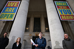 © Licensed to London News Pictures. 15/10/2020. Manchester, UK. Manchester Metro Mayor Andy Burnham, Deputy Mayor Bev Hughes and Sir Richard Leese hold a press conference in front of Manchester Central Library in St Peter's Square , central Manchester , as negotiations continue regarding placing the city on a Tier 3 lockdown, closing pubs and limiting the ways in which households can mix, in order to reduce the spread of Coronavirus . Photo credit: Joel Goodman/LNP
