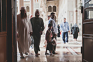 People at the historic Umayyad Mosque in Damascus, Syria. Built on the site of a Byzantine church in the 8th century, today it is one of the most beautiful architectural landmarks in Syria.<br /><br />(May 22, 2020)