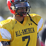 Quarterback Kendal Thompson during the practice session at the Walt Disney Wide World of Sports Complex in preparation for the Under Armour All-America high school football game on December 3, 2011 in Lake Buena Vista, Florida. (AP Photo/Alex Menendez)