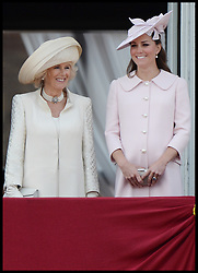 The Duchess of Cornwall and The Duchess of Cambridge on the Balcony at Buckingham Palace during Trooping The Colour, London, United Kingdom,<br /> Saturday, 15th June 2013<br /> Picture by Andrew Parsons / i-Images