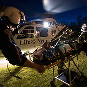 LifeNet 7 is one of seven helicopters stationed throughout South Carolina that provide air medical transport of intensive care patients from one hospital to another or on scene transport requests by local EMS providers. LifeNet 7 performs over 300 transports a year. (U.S. Air Force photo by Staff Sgt. Perry Aston/Not Reviewed)