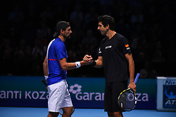 November 15, 2017 - London, England, United Kingdom - Lukasz Kubot of Poland and Marcelo Melo of Brazil celebrate victoy during the doubles match against Mike Bryan of The United States and Bob Bryan of The United States on day four of the 2017 Nitto ATP World Tour Finals at O2 Arena on November 15, 2017 in London, England. (Credit Image: © Alberto Pezzali/NurPhoto via ZUMA Press)