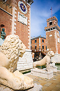 Lion statues at the entrance to the Arsenal, Venice, Veneto, Italy