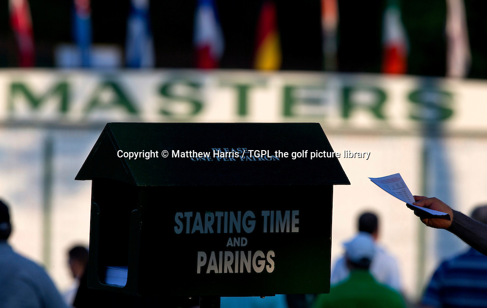Pairings box and scoreboard during first round US Masters 2015 , Augusta National,Augusta,Georgia,USA.