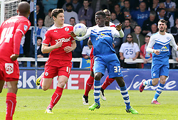 Peterborough United's 16 year-old debutant Leonardo Da Silva Lopes in action with Crawley's Josh Simpson- Photo mandatory by-line: Joe Dent/JMP - Mobile: 07966 386802 - 25/04/2015 - SPORT - Football - Peterborough - ABAX Stadium - Peterborough United v Crawley Town - Sky Bet League One