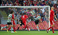 LIVERPOOL, ENGLAND - Wednesday, August 17, 2011: Sporting Clube de Portugal's Joao Teixeira scores the first goal against Liverpool during the first NextGen Series Group 2 match at Anfield. (Pic by David Rawcliffe/Propaganda)
