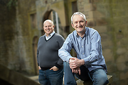 © Licensed to London News Pictures . 18/04/2019. Tameside , UK . DAVID MCGOVERN (51) and LEE STAFFORD (47) of the Stalybridge Town Party , on the site of the former Town Hall , which was destroy by fire decades ago . Independent political parties , not tied to existing national parties , are competing for council seats in wards across the North West . Photo credit : Joel Goodman/LNP