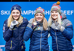 22.02.2019, Medal Plaza, Seefeld, AUT, FIS Weltmeisterschaften Ski Nordisch, Seefeld 2019, Langlauf, Damen, Sprint, Siegerehrung, im Bild v.l. Silbermedaillengewinnerin Stina Nilsson (SWE), Weltmeisterin und Goldmedaillengewinnerin Maiken Caspersen Falla (NOR), Bronzemedaillengewinnerin Mari Eide (NOR) // f.l. Silver medalist Stina Nilsson of Sweden World champion and gold medalist Maiken Caspersen Falla of Norway Bronze medalist Mari Eide of Norway during the winner Ceremony for theCross Country, Ladie's Sprint of FIS Nordic Ski World Championships 2019 at the Medal Plaza in Seefeld, Austria on 2019/02/22. EXPA Pictures © 2019, PhotoCredit: EXPA/ Dominik Angerer