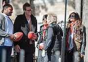 05 November 2012:   Patriots linebacker Jerod Mayo Quarterback Tom Brady greets the band Aerosmith before they play a free concert in front of the building (1325 Commonwealth Avenue ) where band members once lived.  Boston, MA. ***Editorial Use Only*****