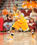 Jan 8, 2012; Fayetteville, AR, USA; Tennessee Lady Volunteers guard Briana Bass (1) takes the ball down the court during a game against the Arkansas Razorbacks at Bud Walton Arena. Tennessee defeated Arkansas 69-38. Mandatory Credit: Beth Hall-US PRESSWIRE