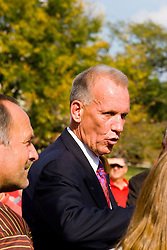 19 September 2009: Doug Collins mingles with a crowd of fans and well wishers as Illinois State University took the day to celebrate 2 of it's own, the late Will Robinson and national hero Doug Collins.  Will Robinson became the first black head basketball coach in NCAA Division I history when names ISU basketball coach in 1970.  Doug Collins was an Illinois State standout basketball player who represented the United States in the 1972 Olympics, played NBA ball for several years where he later coached and recently recieved the Curt Gowdy Media Award for career in broadcasting.  A statue was erected in their honor on the terrace just north of the main entrance to Redbird Arena on ISU's campus in Normal IL