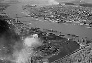 "Ackroyd 03525-28. ""Aerials, April 3, 1952, Portland Gas & Coke"" (Linnton, Gasco, Guilds Lake)"