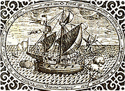 Ferdinand Magellan's (1480-1521) ship 'Victoria'.  Magellan led the first voyage of circumnavigation (1519-1522).  He was killed by natives in the Philippines and the 'Victoria' was taken back to Spain by the last surviving captain in the expedition.