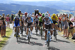 July 16, 2017 - Puy En Velay, France - LE PUY-EN-VELAY, FRANCE - JULY 16 : VUILLERMOZ Alexis (FRA) Rider of Team AG2R La Mondiale and BARDET Romain (FRA) Rider of Team AG2R La Mondiale are leading the group in front of URAN URAN Rigoberto (COL) Rider of Cannondale - Drapac team, MARTIN Daniel (IRL) Rider of Quick-Step Floors Cycling team and FROOME Christopher (GBR) Rider of Team SKY during stage 15 of the 104th edition of the 2017 Tour de France cycling race, a stage of 189.5 kms between Laissac-Severac l'Eglise and Le Puy-En-Velay on July 16, 2017 in Le Puy-En-Velay, France, 16/07/2017 (Credit Image: © Panoramic via ZUMA Press)