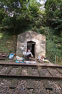 France. Paris 14th district., Daniel homeless man, living on the former railway line since 1994  /  daniel SDF vivant depuis 1994 sur l ancienne ligne de la petite ceinture