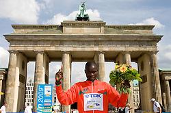 Winner Albel Kirui of Kenya at the flower ceremony after  the men's 42km Marathon Race during the 2009 IAAF Athletics World Championships on August 22, 2009 in Berlin, Germany. (Photo by Vid Ponikvar / Sportida)