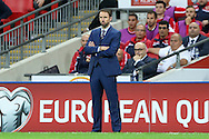 Gareth Southgate, the England Caretaker manager looking on from the touchline. FIFA World cup qualifying match, european group F, England v Malta at Wembley Stadium in London on Saturday 8th October 2016.<br /> pic by John Patrick Fletcher, Andrew Orchard sports photography.