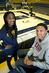 Asha Thomas, left, and Ivan Rabb, who both play for the University of California's basketball teams, pose for a photograph at Haas Pavilion on campus in Berkeley, Calif., Monday, Dec. 7, 2015. Thomas and Rabb have been classmates since middle school, and both played at Bishop O'Dowd High School before coming to Cal. (D. Ross Cameron/Bay Area News Group)