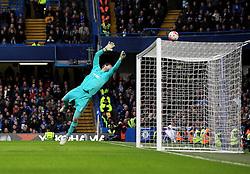Asmir Begovic of Chelsea saves a shot from Jordan Clarke of Scunthorpe United - Mandatory byline: Robbie Stephenson/JMP - 10/01/2016 - FOOTBALL - Stamford Bridge - London, England - Chelsea v Scunthrope United - FA Cup Third Round