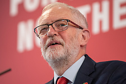 © Licensed to London News Pictures. 05/11/2019. Harlow, UK. Jeremy Corbyn delivers a major speech on Brexit. Photo credit: Peter Manning/LNP