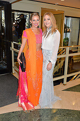 Left to right, NIKKI BEDI and HELEN FOSPERO at the 6th annual Asian Awards held at The Grosvenor House Hotel, Park Lane, London on 8th April 2016.