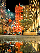 The Helmsley Building lit up in Orange color in Manhattan, New York City.