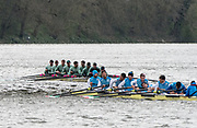 Hammersmith, GREATER LONDON. United Kingdom Cambridge University  Boat  Club, Pre Boat Race Fixture CUBC vs ITA M8+ for the 2017 Boat Race The Championship Course, Putney to Mortlake on the River Thames.<br /> <br /> Saturday  18/03/2017<br /> <br /> [Mandatory Credit; Peter SPURRIER/Intersport Images]<br /> CUBC<br /> <br /> [R-L]. S. Henry Meek, 7. Lance Tredell,6. Patrick Eble,5. Aleksander Malowany, 4. Timothy Tracey, 3. James Letten, 2. Freddie Davidson, B. Ben Ruble and Cox. Hugo Ramambason Italy (not in seat order)<br /> <br /> Marco Di Costanzo, Giovanni Abagnale, Giuseppe Vicino, Matteo Lodo, Domenico Montrone, Matteo Castaldo, Luca Parlato, Emanuele Liuzzi and Co, Enrico D'Aniello