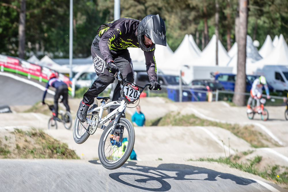 #120 (PELLUARD Vincent) FRA during practice at Round 5 of the 2018 UCI BMX Superscross World Cup in Zolder, Belgium