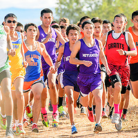 Miyamura Patriot Niles Thomas jumps to the front of the pack at the start of the boys varsity race at the Grants Invitational Friday.