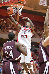 29 December 2006: Anthony Slack puts up an un-contested lay up. The Salukis of Southern Illinois University beat the Redbirds 68-49 at Redbird Arena in Normal Illinois on the campus of Illinois State University.<br />