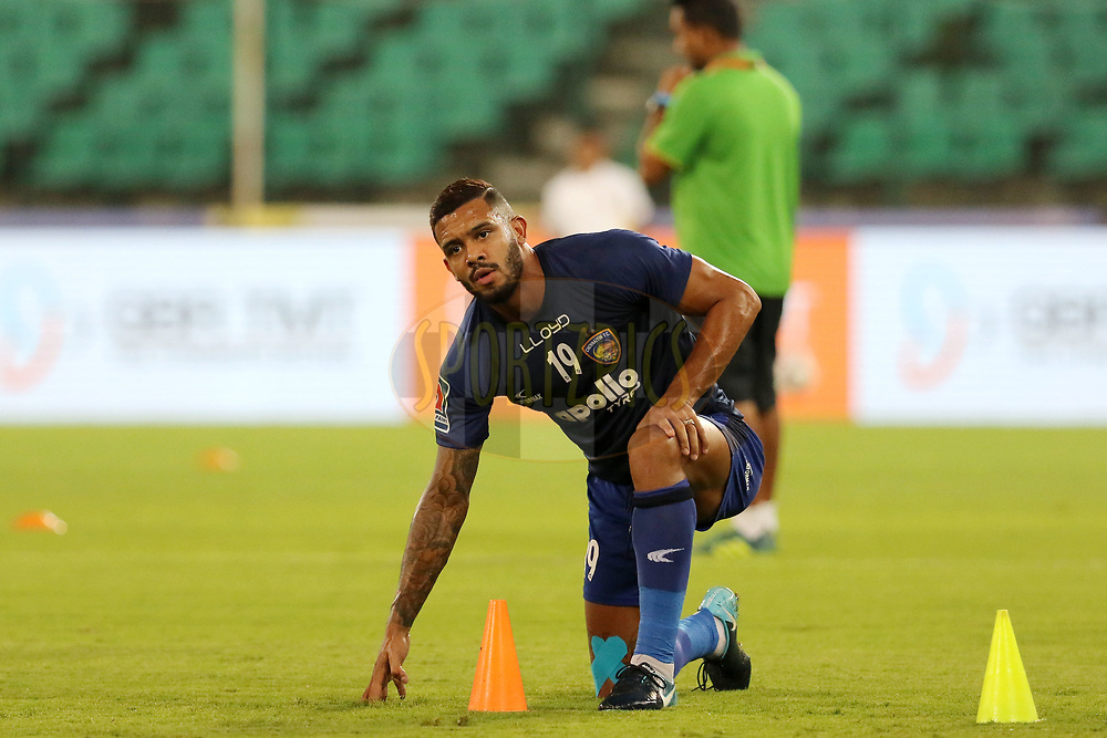 Raphael Augusto of Chennaiyin FC warm up before the start of the match 27 of the Hero Indian Super League 2018 ( ISL ) between Chennaiyin FC and Mumbai City FC  held at the Jawaharlal Nehru Stadium, Chennai, India on the 3rd November 2018<br /> <br /> Photo by: Vipin Pawar /SPORTZPICS for ISL