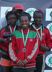 Shufaa Changawa (L) and Katrina Karanja (C) and Faith Omurunga celebrates with their medals after wining the bronze position in the Team category during their 14th African Nations Cup (CAN) 2016 on the Final day at Nairobi Club on November 13, 2016. Photo/Fredrick Onyango/www.pic-centre.com (KEN)